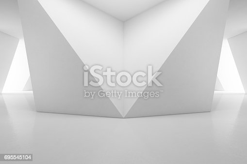 692146256 istock photo Modern interior design of showroom with empty floor and white wall background 695545104