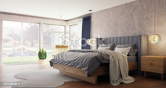 Modern interior design of spacious bedroom with large windows and garden and forest in background, 3d rendering, 3d illustration