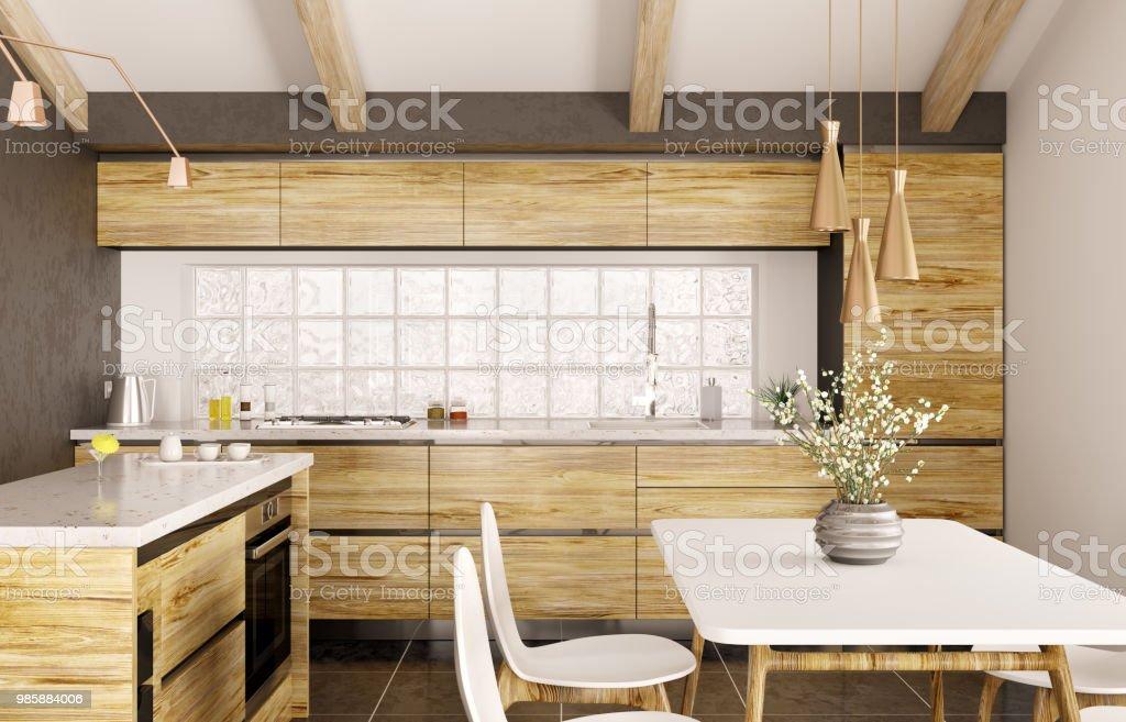 Moderne Innenarchitektur Aus Holz Küche Mit Insel 3drendering ...