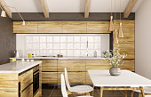 Modern interior design of wooden kitchen with island 3d rendering