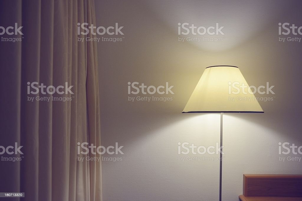 Modern Interior Detail with Lamp and Curtains stock photo