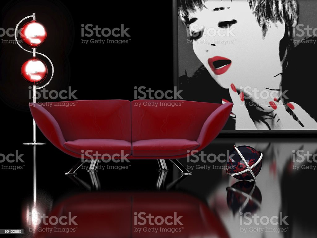 Modern interior in black and red - Royalty-free Apartment Stock Photo
