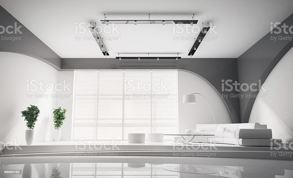 Modern Interior in white 3d royalty-free stock photo