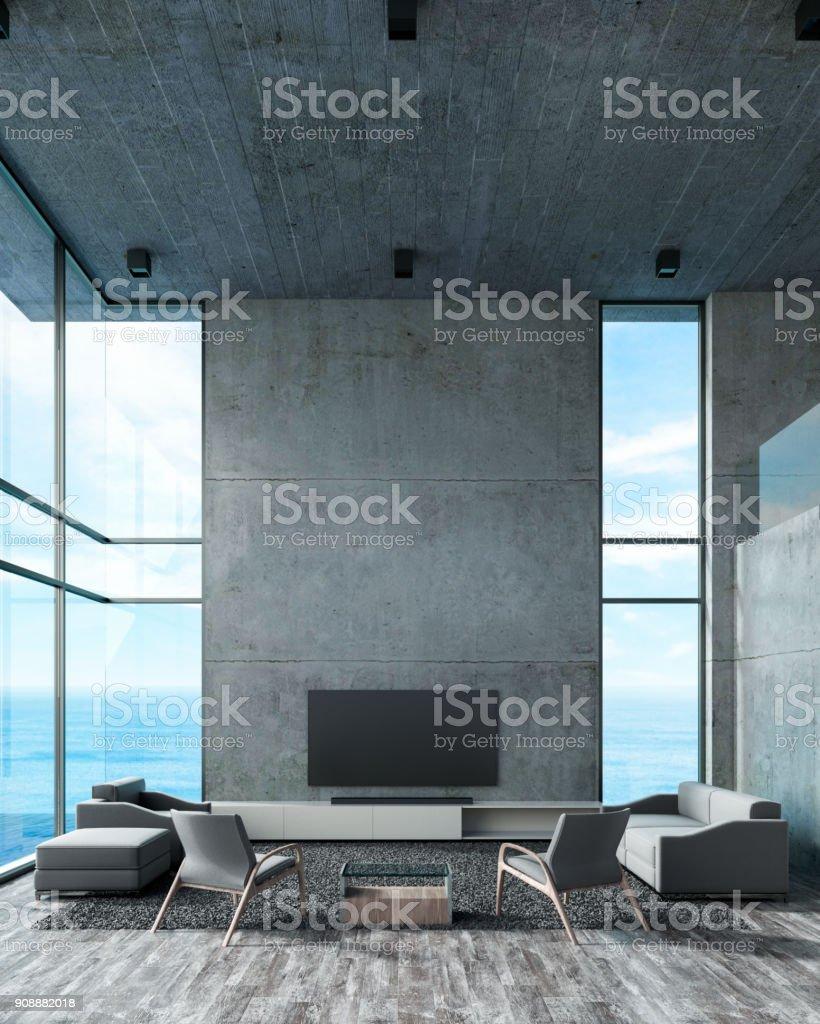 Modernes Interieur Wohnzimmer Doppel Raum Mit Sofa Set Fenster Aussicht Auf  Den Strand. Betonwand