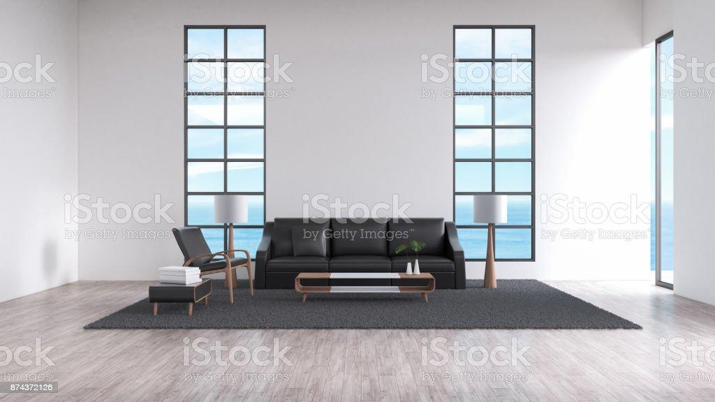 Modernes Interieur Wohnzimmer Holzboden Sofa Set Meerblick Sommer  3D Rendering Lizenzfreies Stock Foto