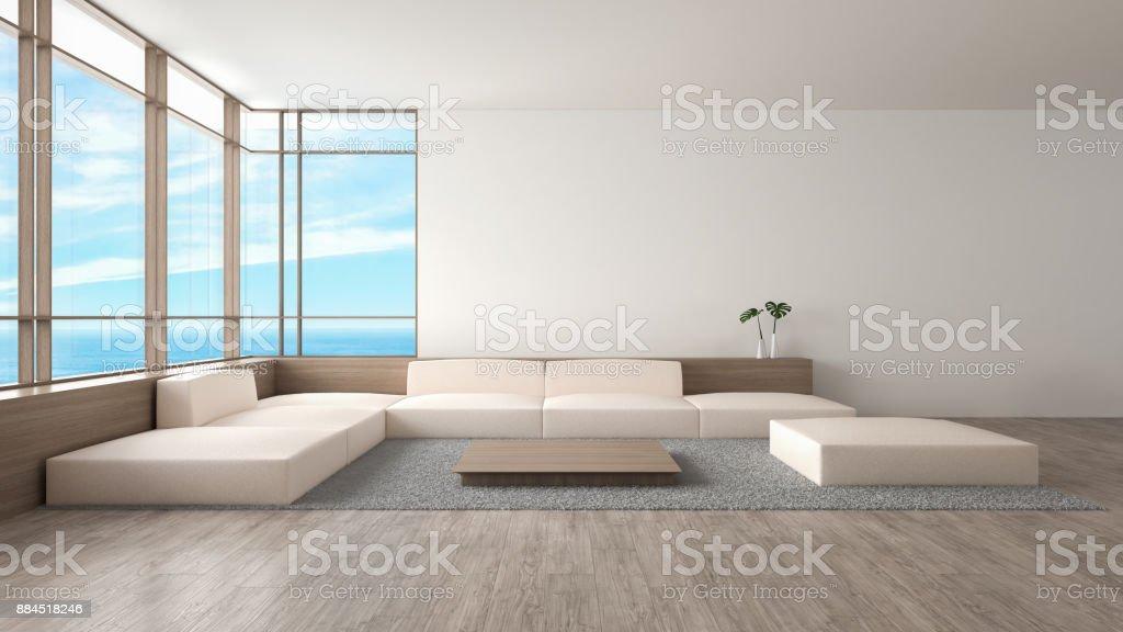 Hervorragend Modernes Interieur Wohnzimmer Holzboden Sofa Set Meerblick Sommer  3D Rendering Lizenzfreies Stock Foto