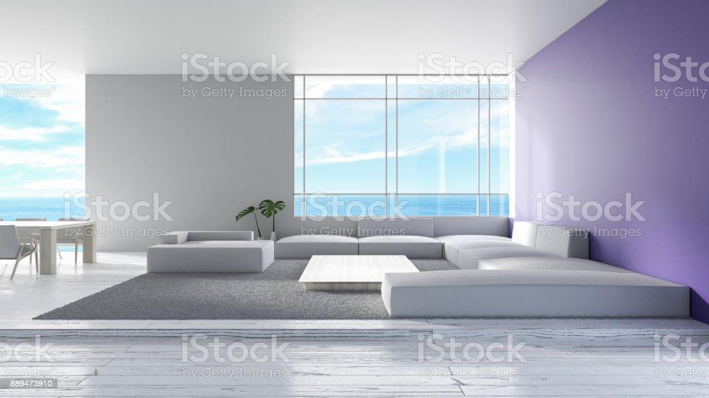 Modernes Interieur Wohnzimmer Holzboden Sofa Set Meerblick Sommer  3D Rendering. Minimale Wohnzimmer Design Lila