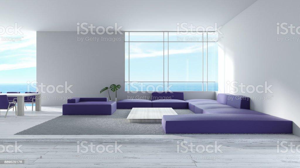 Fantastisch Modernes Interieur Wohnzimmer Holzboden Sofa Set Meerblick Sommer  3D Rendering. Minimale Wohnzimmer Design Lila