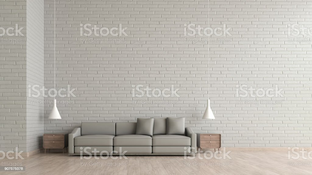 modern interior living room wood floor white brick texture wall with