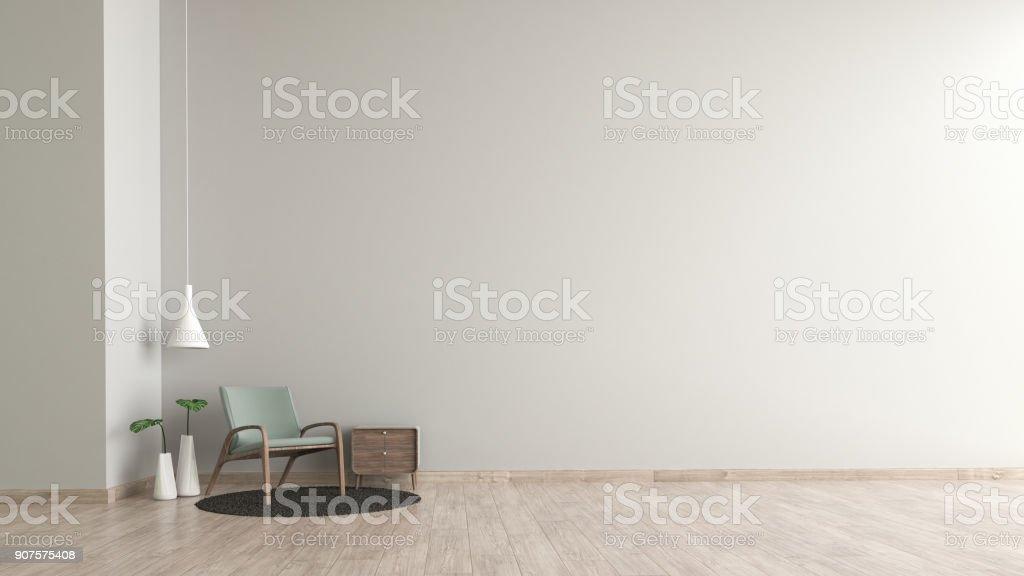 Salon Intérieur Moderne Parquet Ciment Blanc Texture Mur Avec Modèle De  Chaise Verte Pour Maquettes 3d