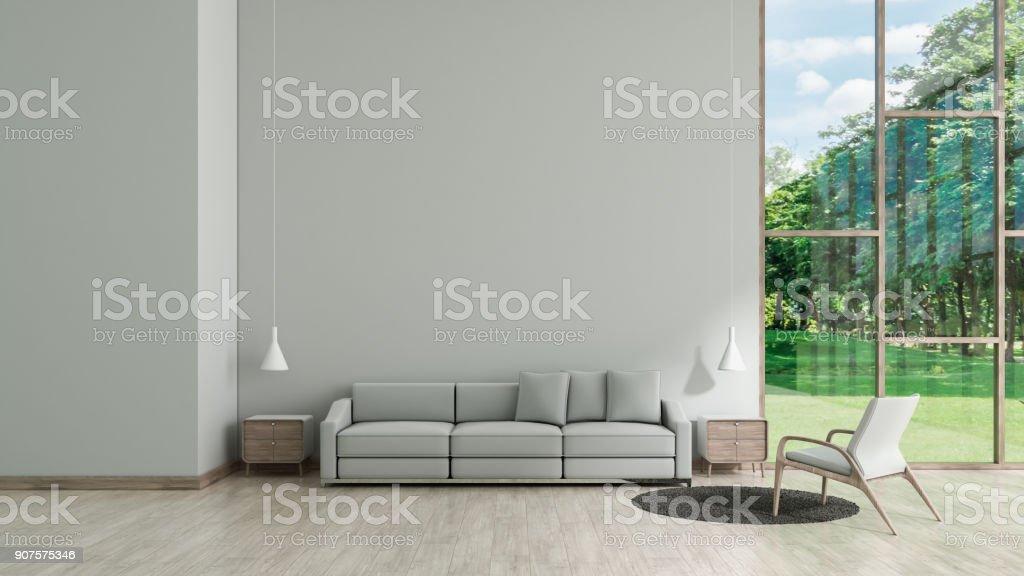 Salon Intérieur Moderne Parquet Blanc Texture Mur Avec Gris Modèle De Vue  Jardin Fenêtre Canapé Et