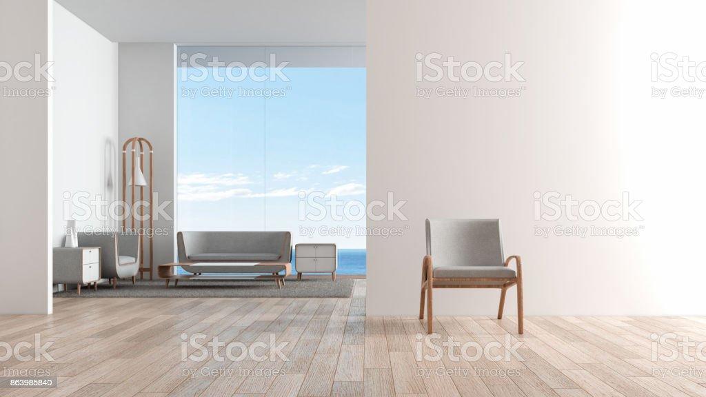 Modernes Interieur Wohnzimmer Holzboden Mit Sitzgarnitur. Stuhl Vor  Wohnzimmer. Blick Auf Das Meer Sommer