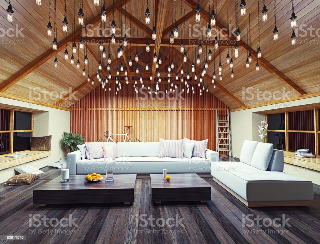 modern interior loft stock photo