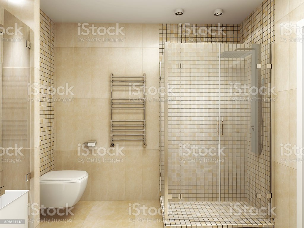Modernes Interieur des ein Badezimmer 3D-Abbildung – Foto