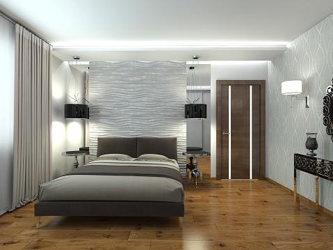 Modern Interior Of A Bedroom 3d Rendering Stock Photo ...