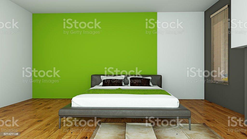 Interieur des modernen Schlafzimmer 3d-Abbildung – Foto