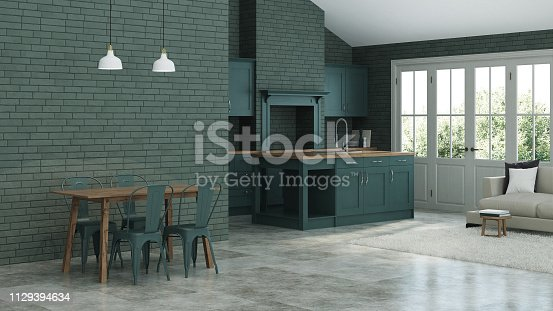 istock Modern interior of a country house. Interior with dark green kitchen and green brick walls. 3D rendering. 1129394634