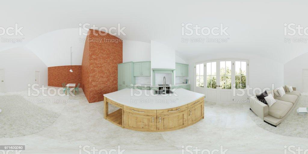 Modernes Interieur Eines Landhauses Leichte Grune Kuche Panorama 360