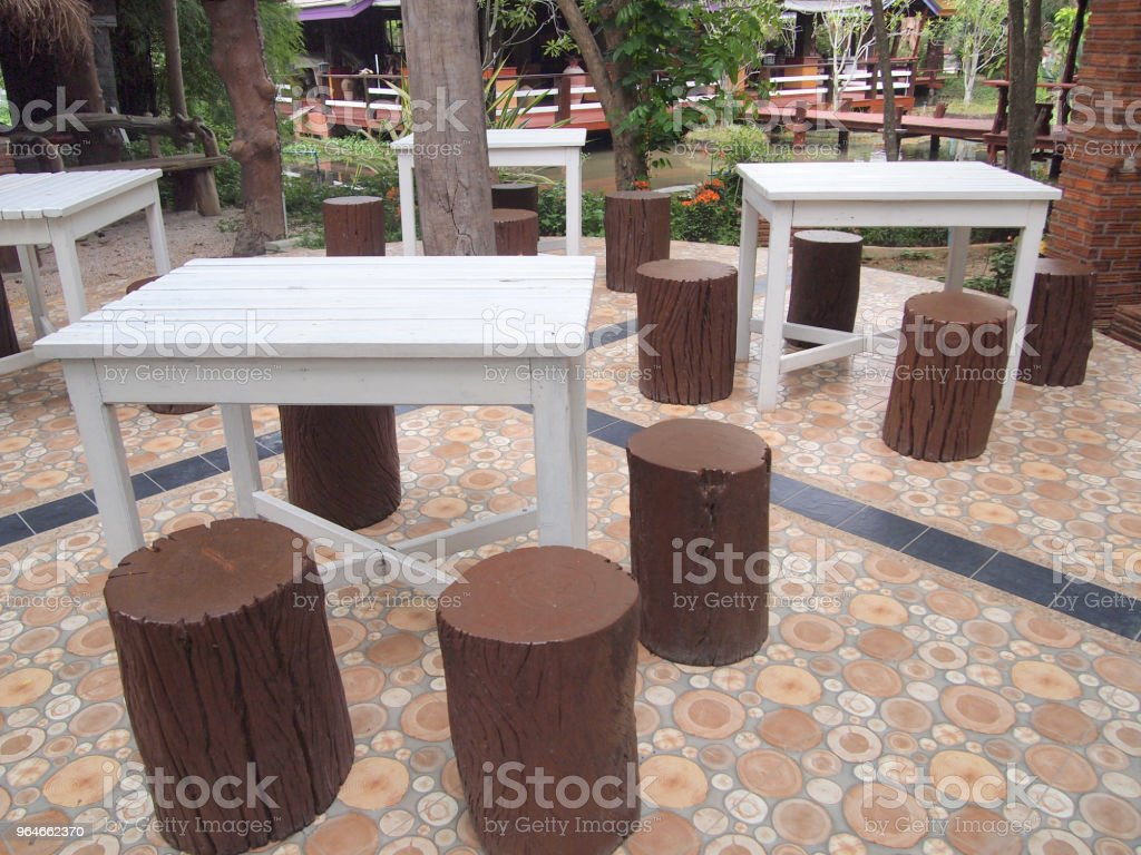 Modern interior of a dining table and chairs royalty-free stock photo