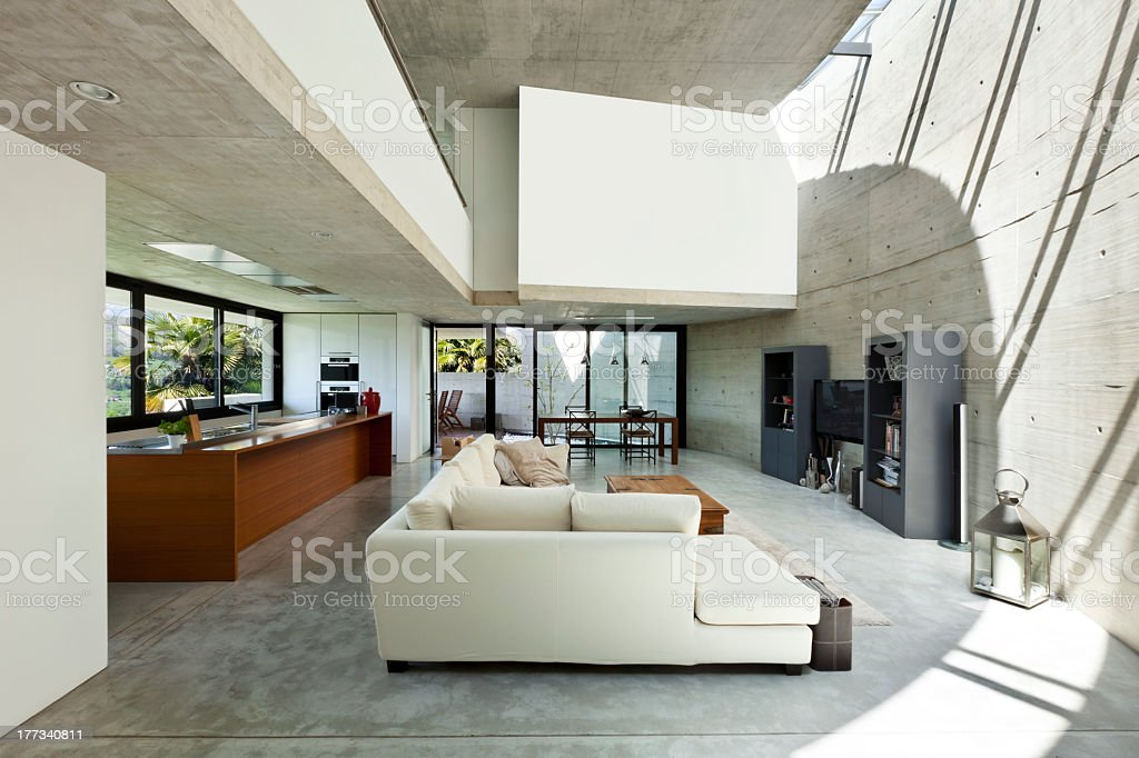 Modern interior of a living room in a house stock photo
