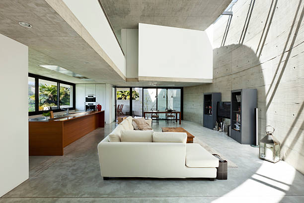 innenansicht, wohnzimmer - betonboden wohnzimmer stock-fotos und bilder