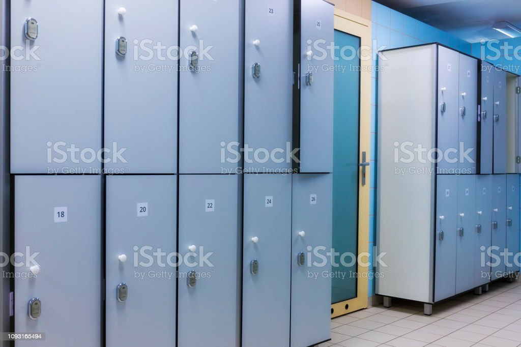 Modern interior of a locker changing room