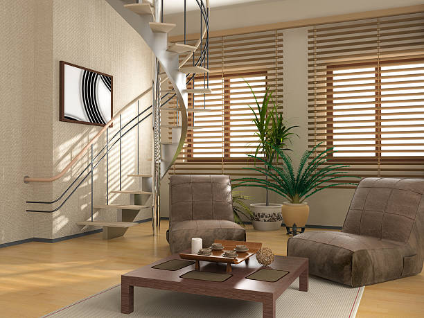 modern interior of a spiral staircase - blinds stock pictures, royalty-free photos & images
