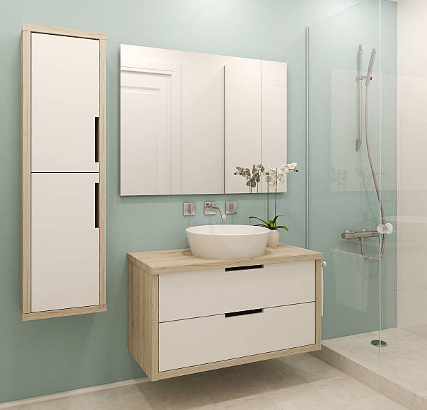 A modern interior of a white and green bathroom  stock photo