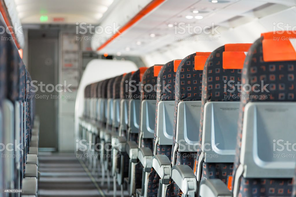 Modern interior of airplane stock photo