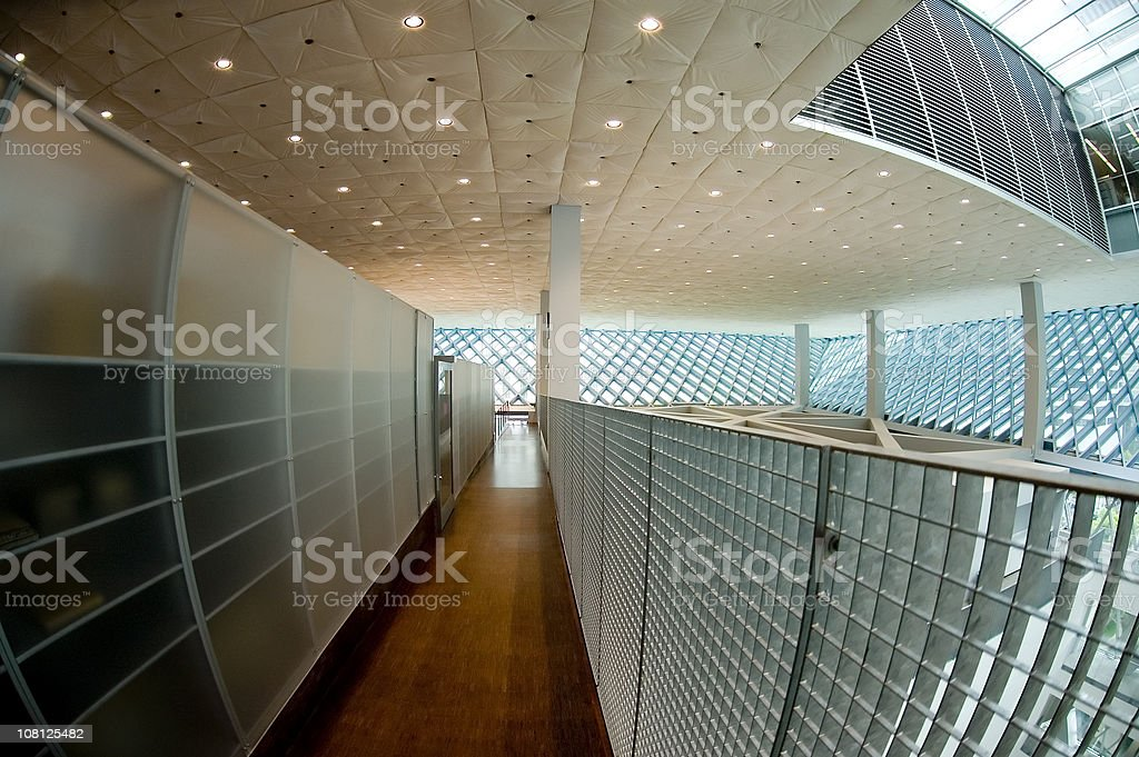 Modern Interior of Building, Wide Angle View royalty-free stock photo