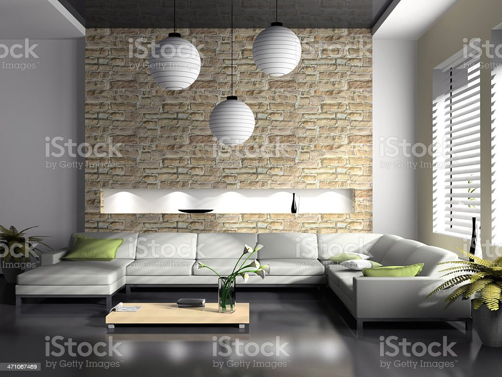 Modern interior of drawing-room 3D rendering royalty-free stock photo