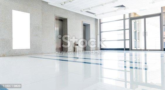 Modern interior of elevator lobby.