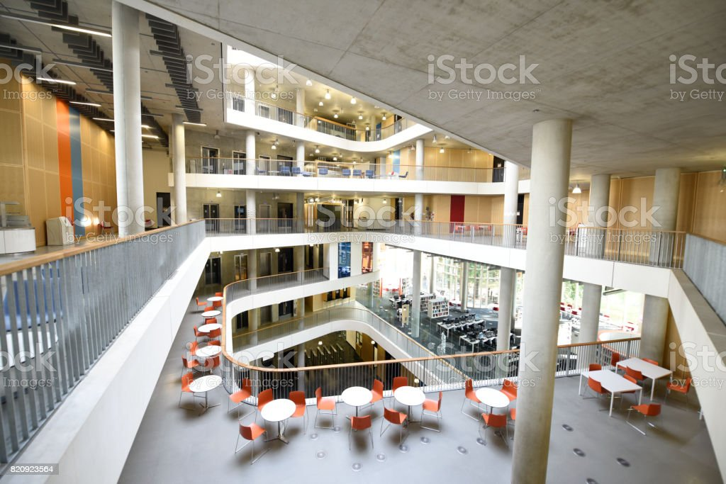Modern interior of large education building stock photo