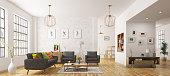 Modern interior of living room, scandinavian style 3d rendering