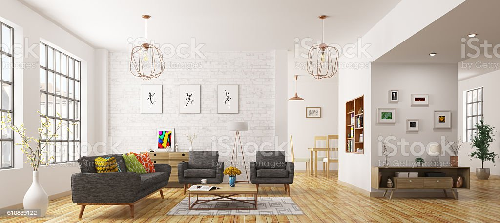 Moderno di vivere in camera rendering 3D - foto stock