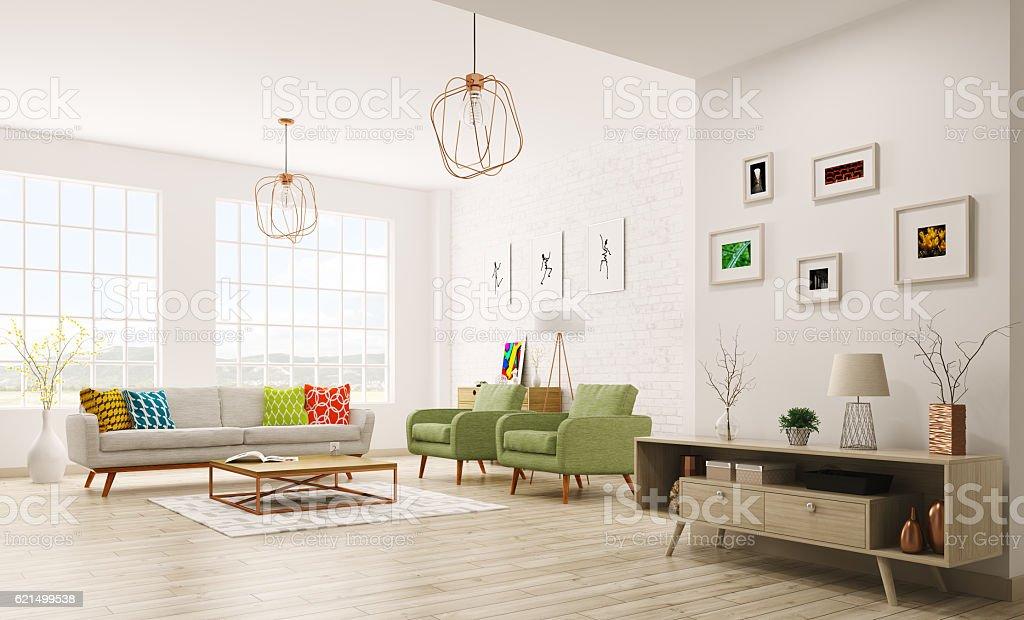 Intérieur moderne de salle de séjour – Représentation en 3D photo libre de droits
