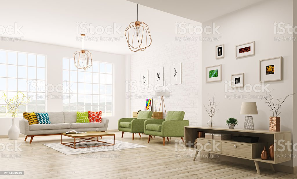 Modern interior of living room 3d rendering