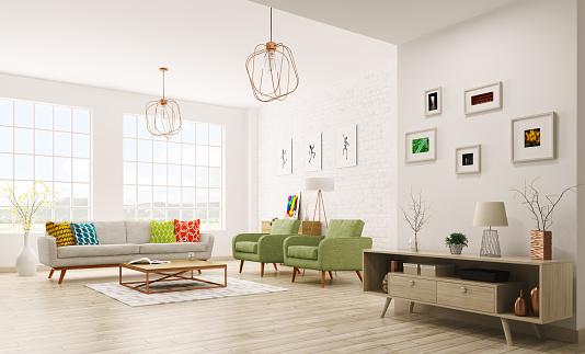 istock Modern interior of living room 3d rendering 621499538