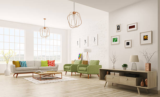 modern interior of living room 3d rendering - modern lifestyle stock photos and pictures