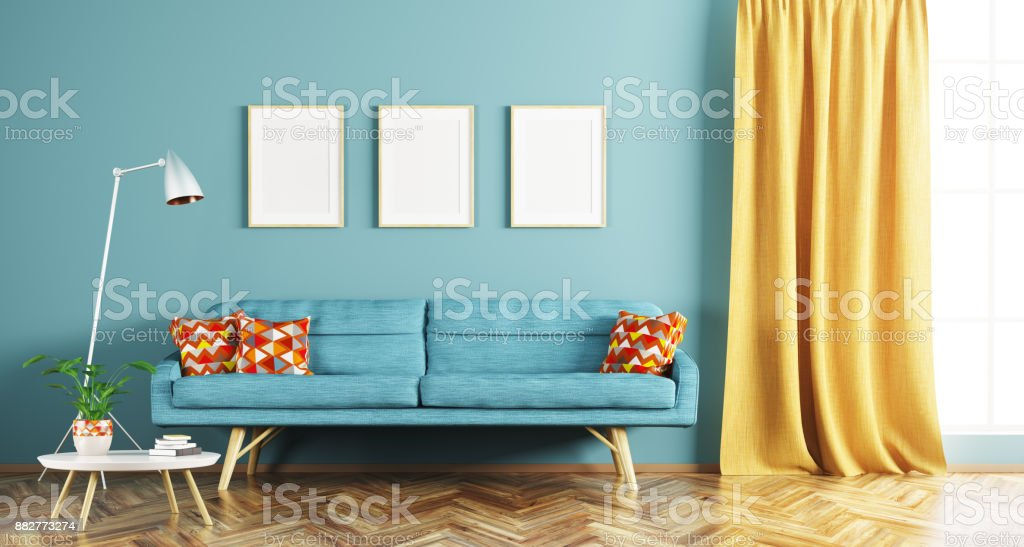 Modern interior of living room 3d rendering royalty-free stock photo