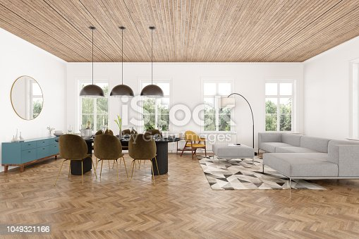 Modern interior of living room and Dining Room