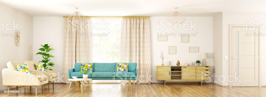 Modernes Interieur Wohnzimmer Panorama 3d Rendering Stock-Fotografie ...