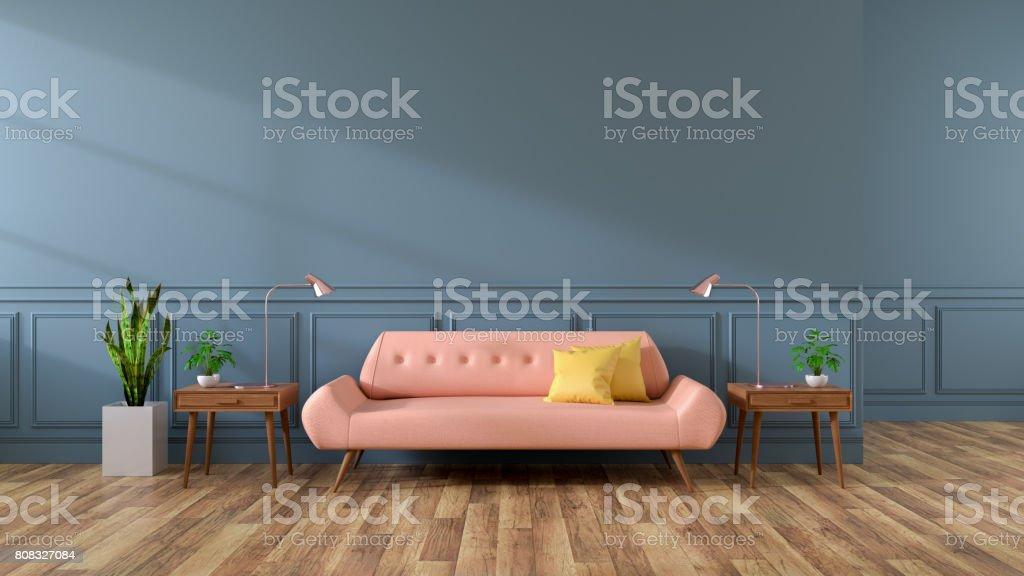 Modernes Interieur Aus Wohnzimmer, Rosa Sofa Auf Holzböden Und Dunkle Graue  Wand, 3D