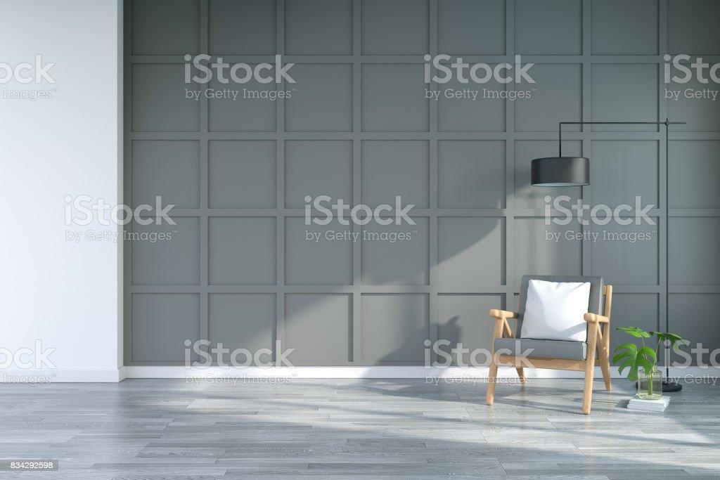 Modernes Interieur Aus Wohnzimmer Mit Sesseln Auf Holzböden Und ...