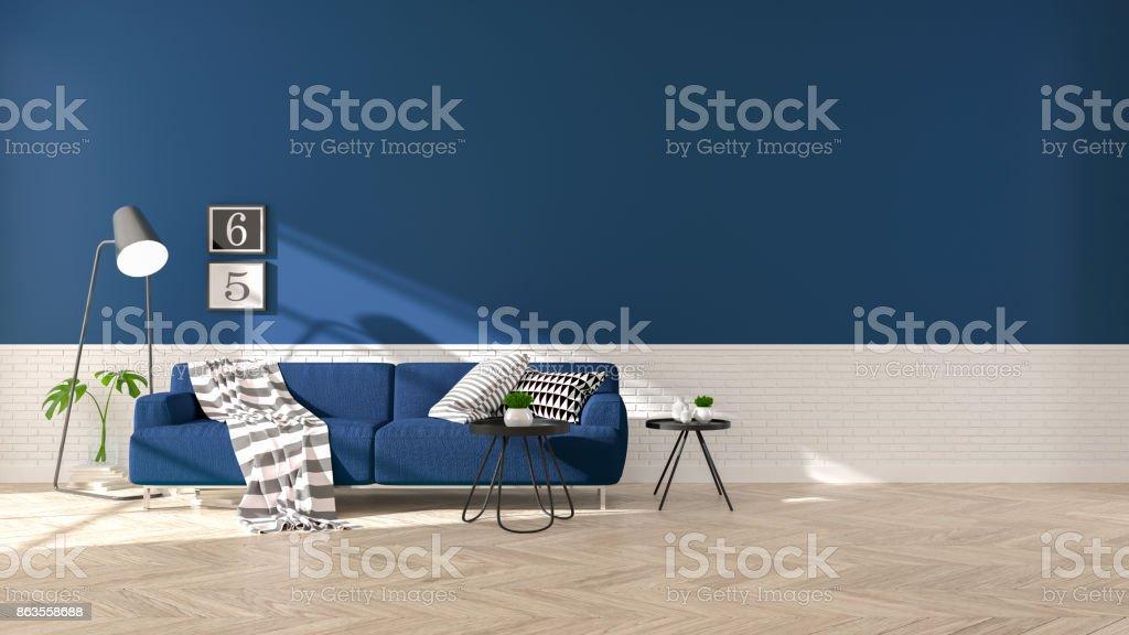 Tremendous Modern Interior Of Living Room With Blue Sofa On Wood Evergreenethics Interior Chair Design Evergreenethicsorg