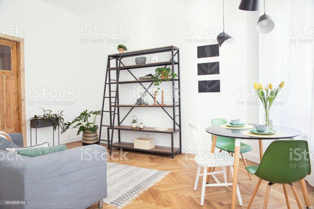 Modernes Interieur Aus Wohnzimmer Mit Buchständer, Stilvolle Sofa Und  Pflanze. Weiße Wände Mit Mock