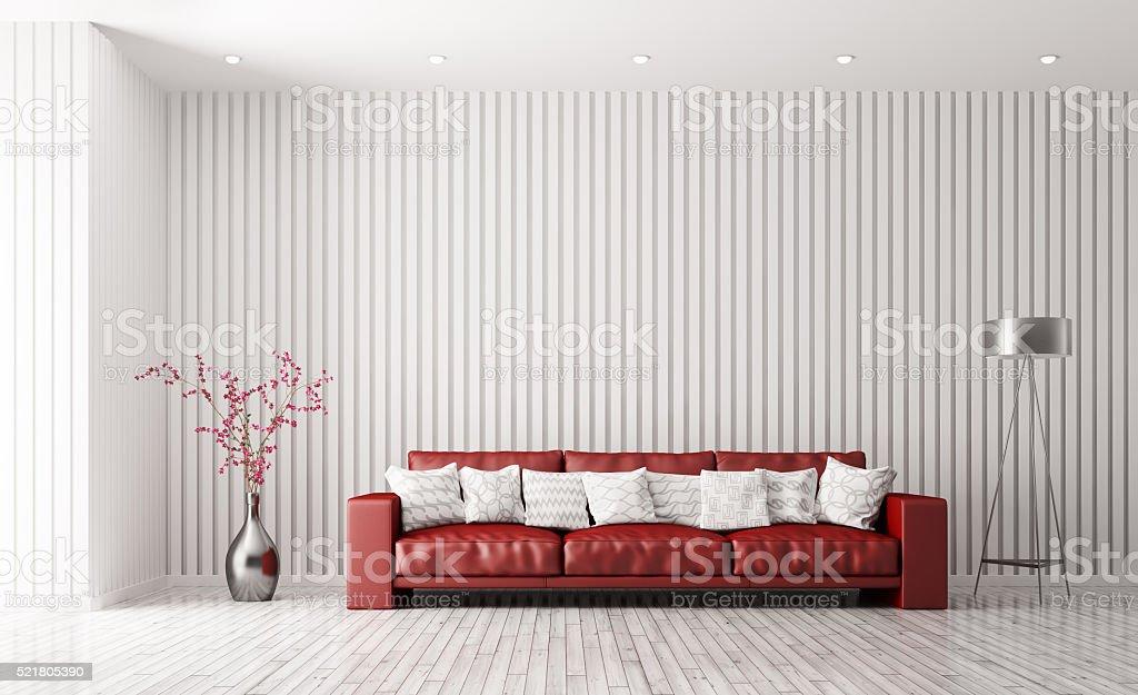 Modernes Interieur Des Wohnzimmer Mit Roten Sofa 3dabbildung Stock