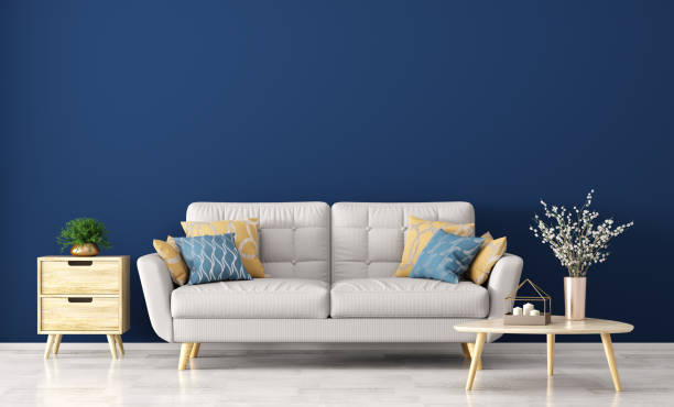 Modern interior of living room with sofa 3d rendering stock photo