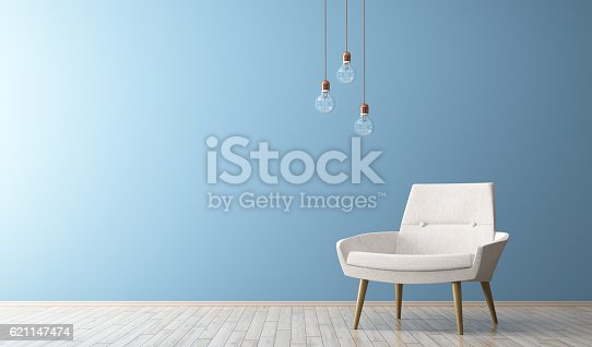 istock Modern interior of living room with white armchair 3d render 621147474