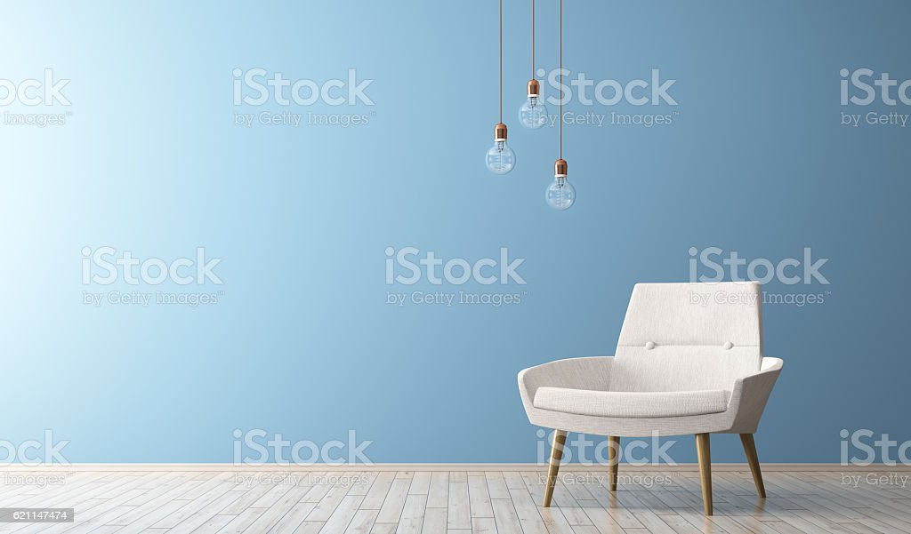 Modern interior of living room with white armchair 3d render stock photo
